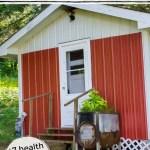 red-sided modern Finnish sauna