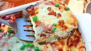 Cauliflower-Chicken Au Gratin Casserole with Bacon {Keto, Low-Carb, Primal, GAPS}