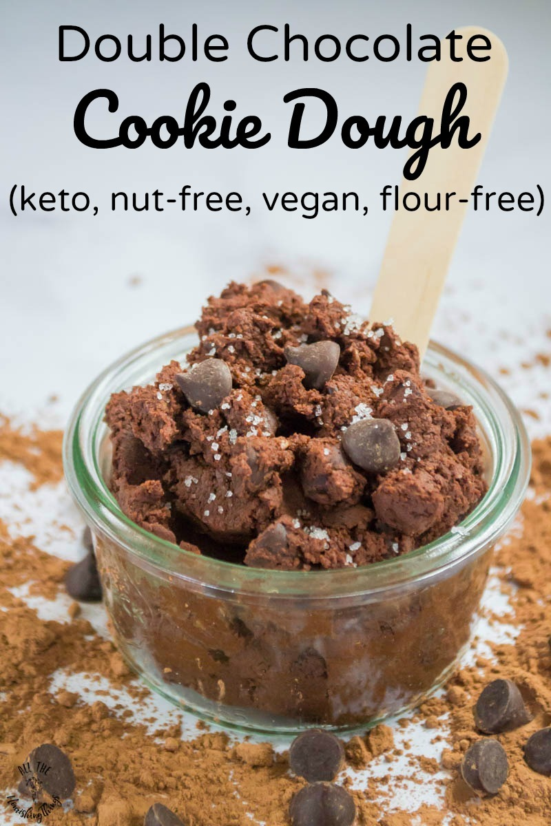 keto double chocolate cookie dough with text overlay