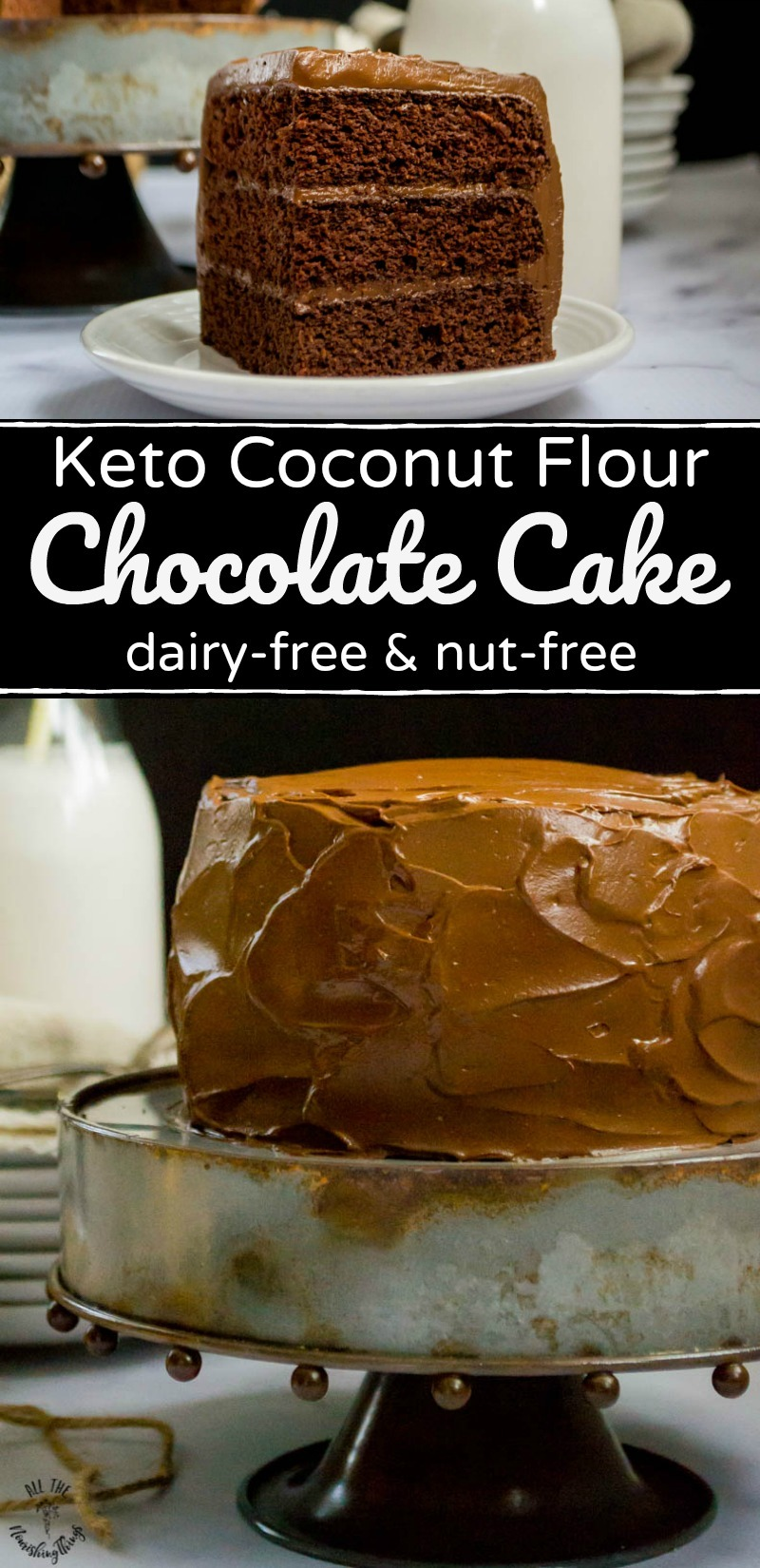 collage of 2 images of keto coconut flour chocolate cake with text overlay between images
