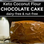 collage of images of keto coconut flour chocolate cake with text overlay