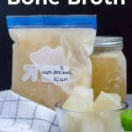 bone broth frozen as cubes, in a bag, and in a jar