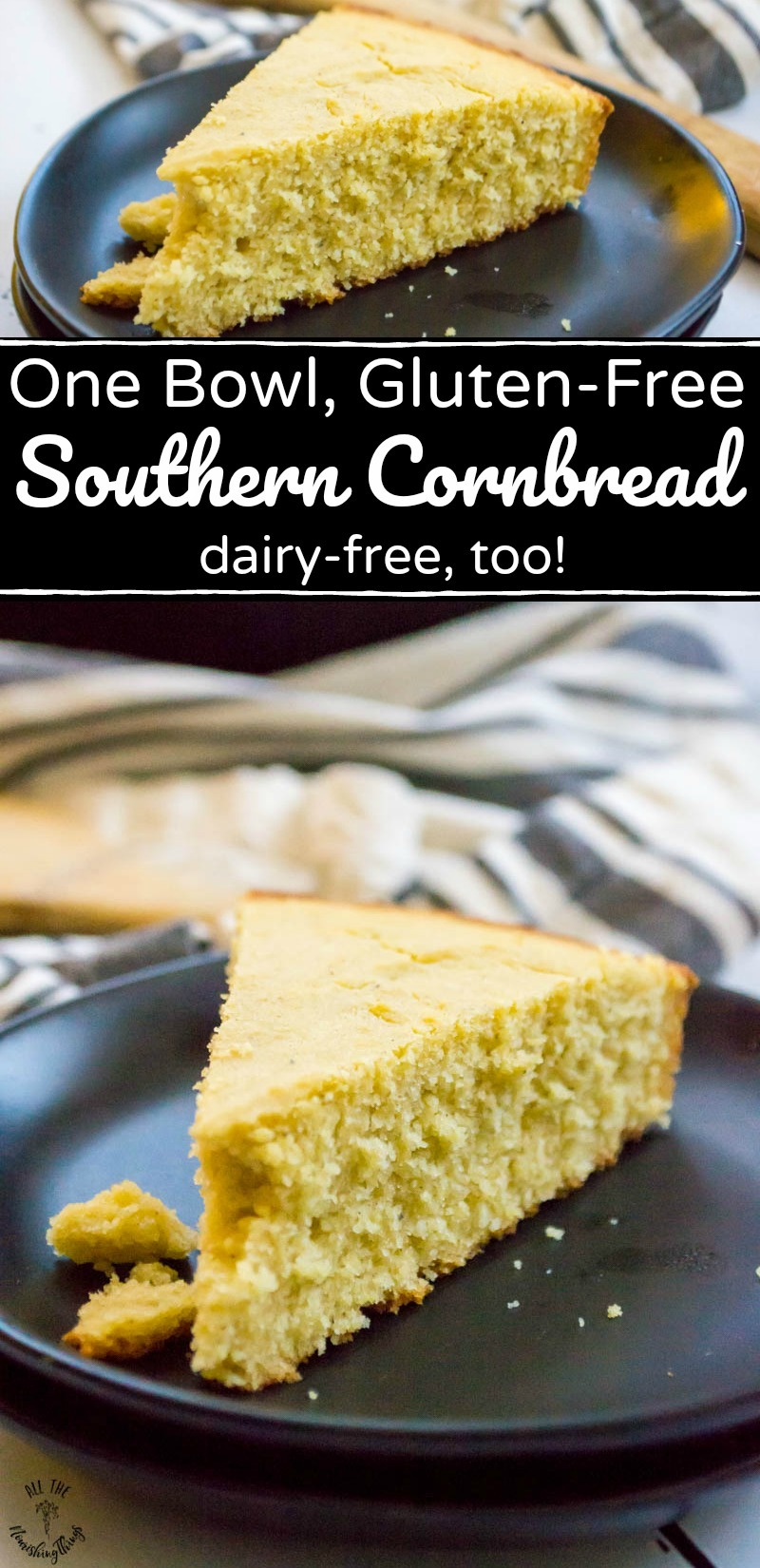 collage of 2 images of gluten-free southern cornbread on black plates with text overlay between the images