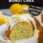 keto coconut flour lemon poppyseed bundt cake with text overlay