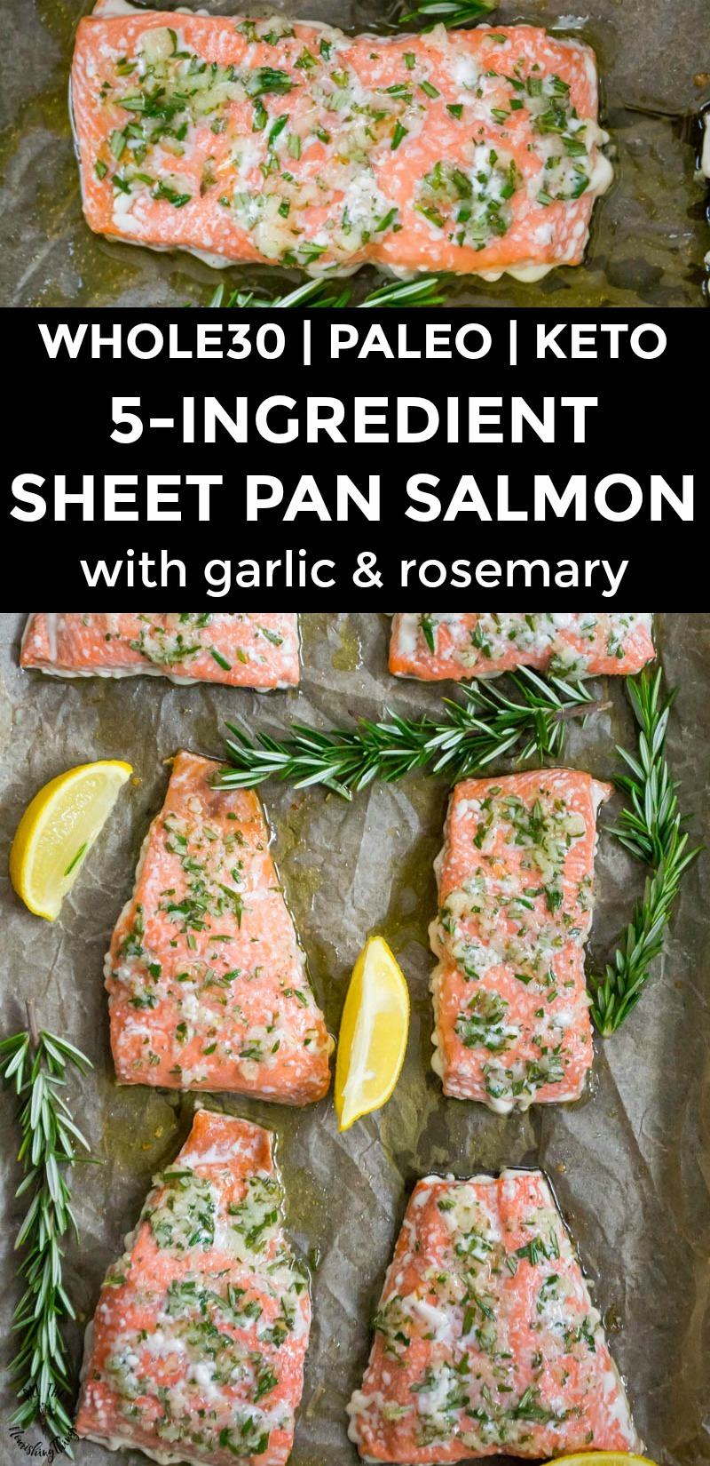 collage of 2 images of sheet pan salmon with text overlay between the images