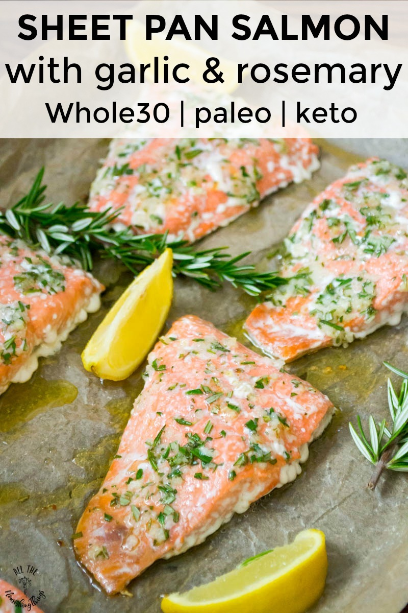 sheet pan salmon with garlic and rosemary with text overlay
