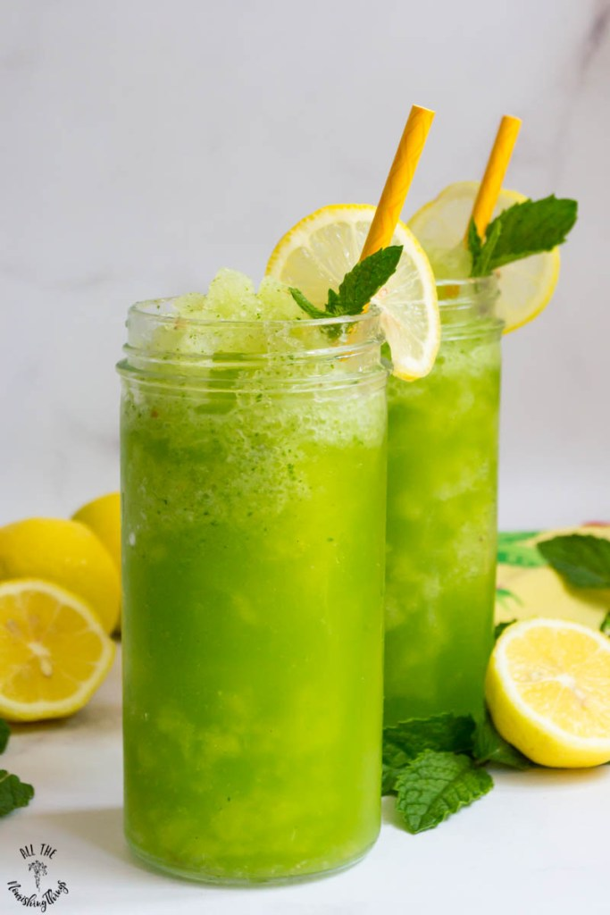4-Ingredient Keto Frozen Mint Lemonade (easy, vegan, paleo)