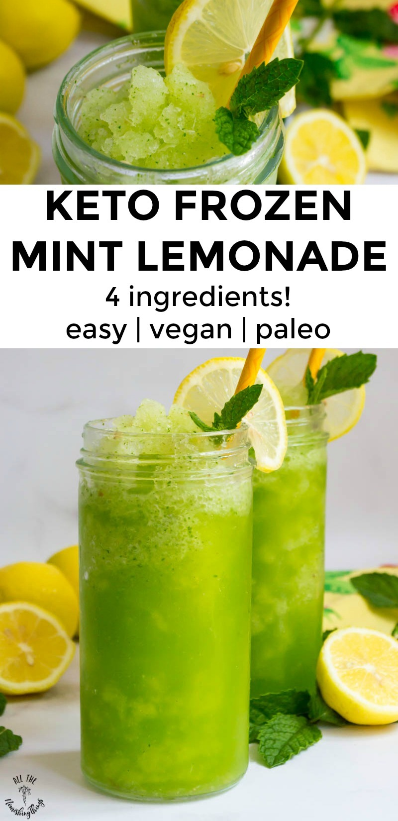 "close-up of keto frozen mint lemonade over a text overlay reading ""keto frozen mint lemonade"""
