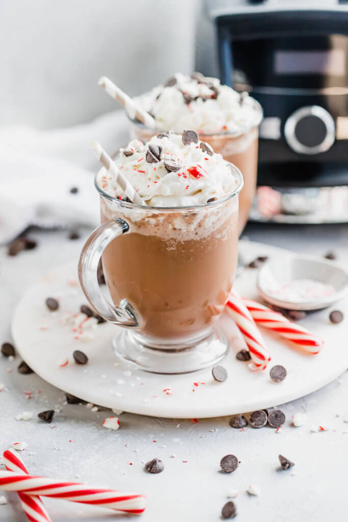 keto peppermint mocha frappucinos garnished with chocolate chips and candy canes