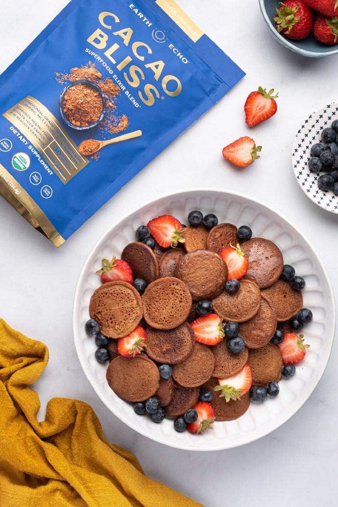 Healthy Gluten-Free Mini Cacao Bliss Pancakes Recipe