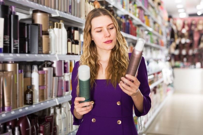 Women choosing hair care products