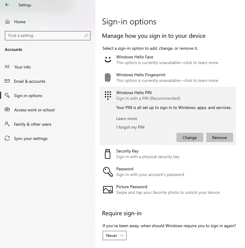 Windows 10 Sign-in oprions