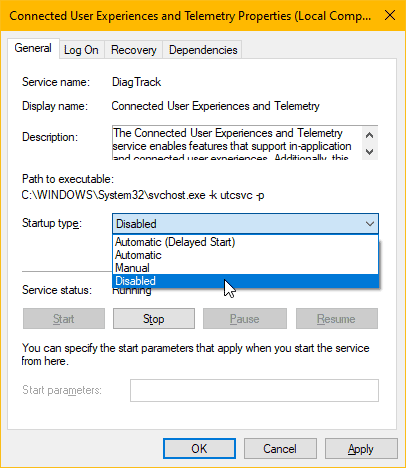 Disable Connected User Experiences and Telemetry Service Windows 10