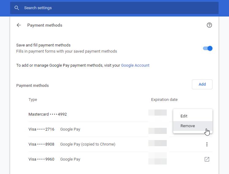 Delete Autofill Credit card in Chrome