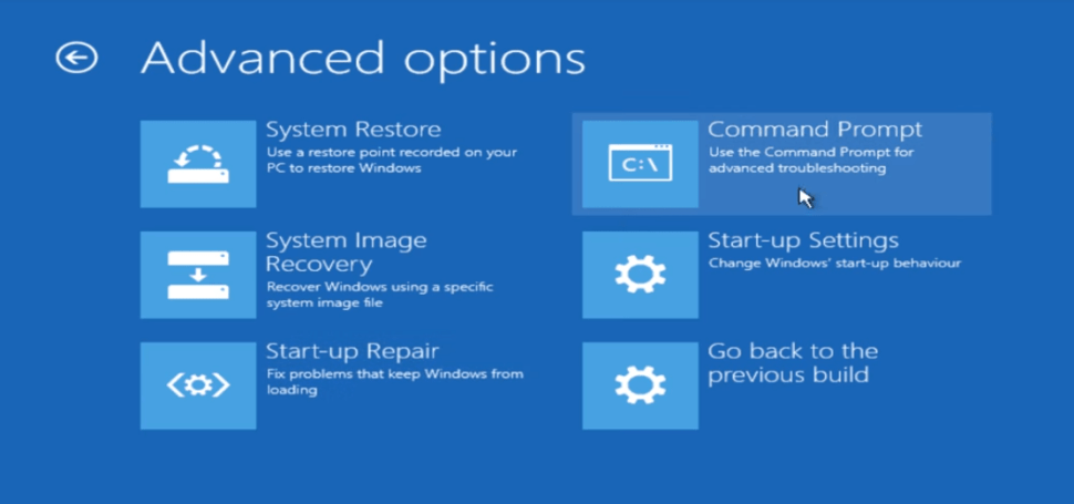 Windows 10 Advanced Options Command Prompt