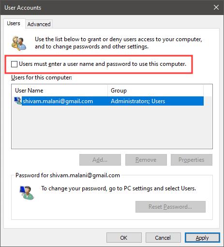 User accounts settings Windows 10