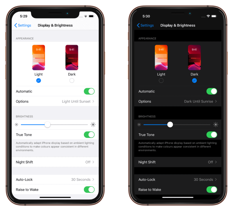 iOS 13 Light and Dark Mode Automatic