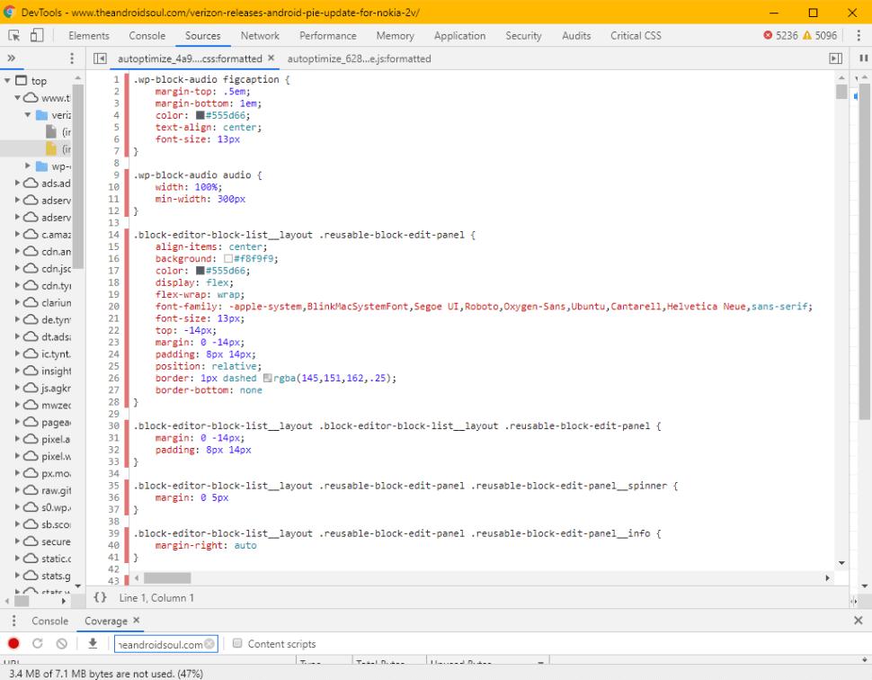 Unused CSS View Chrome