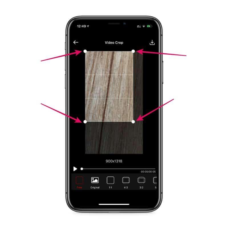 Adjust Crop Size Video iPhone app