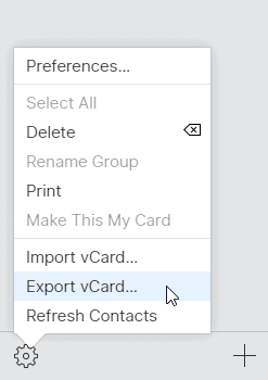 Export vCard iPhone Contacts iCloud