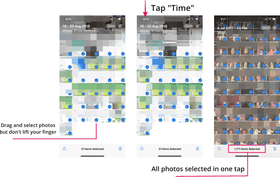 Select All Photos iPhone Time Trick