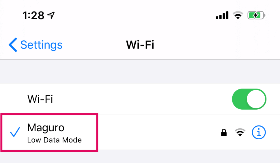 iPhone WiFi Low Data Mode Label