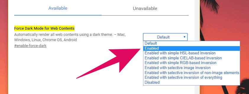 """Enable """"Force Dark Mode on Web Contents"""" feature in Chrome"""