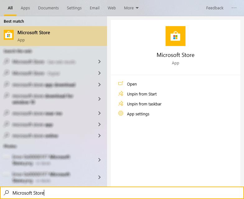 Open Microsoft Store from Start menu