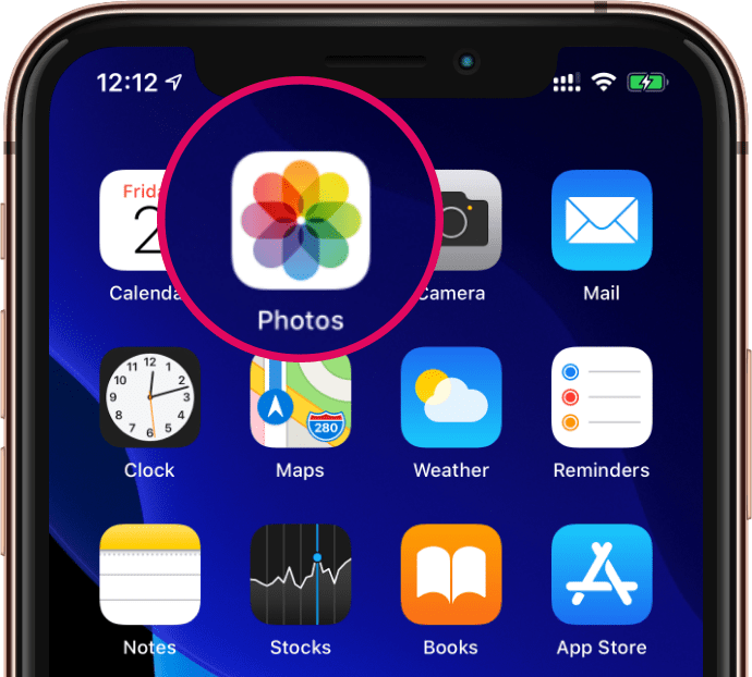Open Photos App icon iPhone
