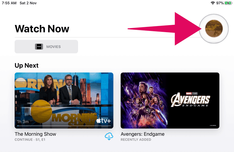 Tap the profile picture icon in Apple TV app