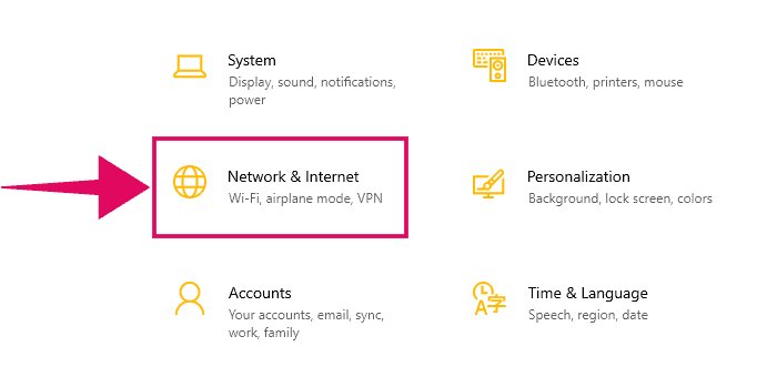 Go to Network and Internet Settings in Windows 10