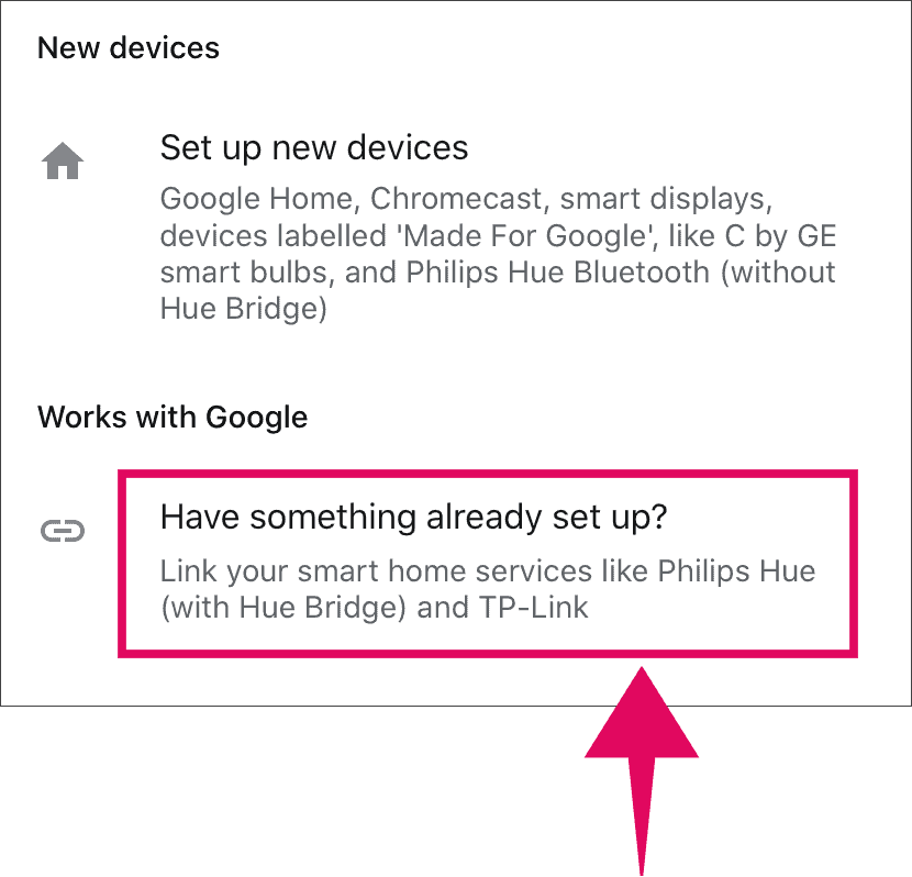 Link device in Google Home app