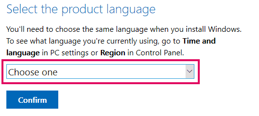 Select your preferred language for the Windows 10 installation disk image