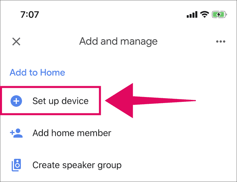 """Tap """"Set up device"""" in Google Home app"""