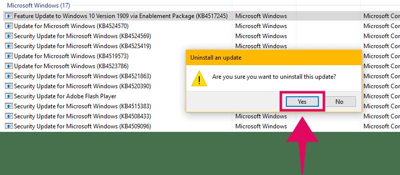 Uninstall Windows 10 November 2019 Update