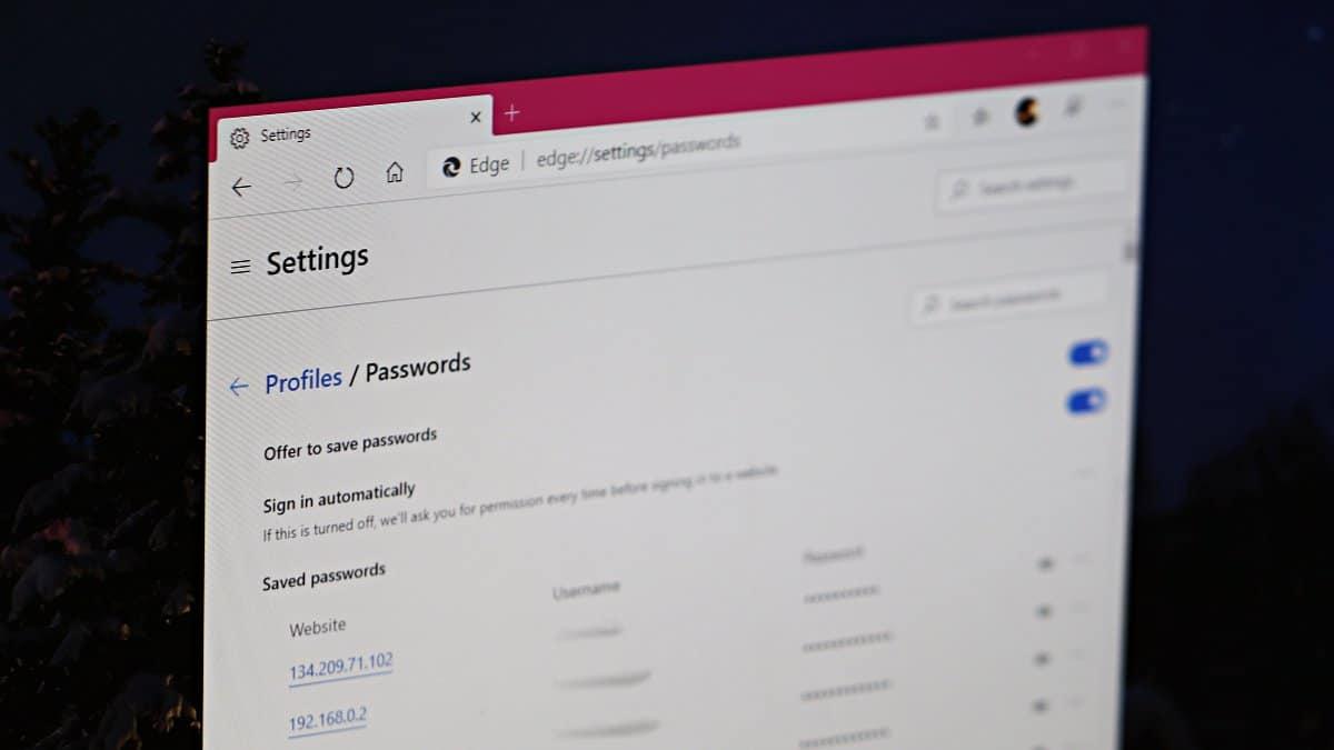 View Passwords Microsoft Edge