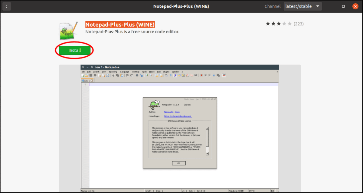 Ubuntu Software Notepad++ Install.