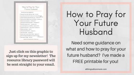 How to pray for your future husband printable graphic.