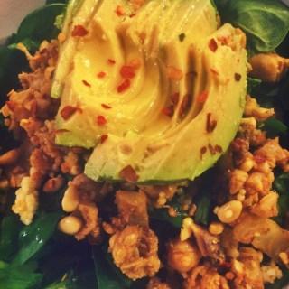 Spinach Salad w/ Mashed Sardine Garbanzos