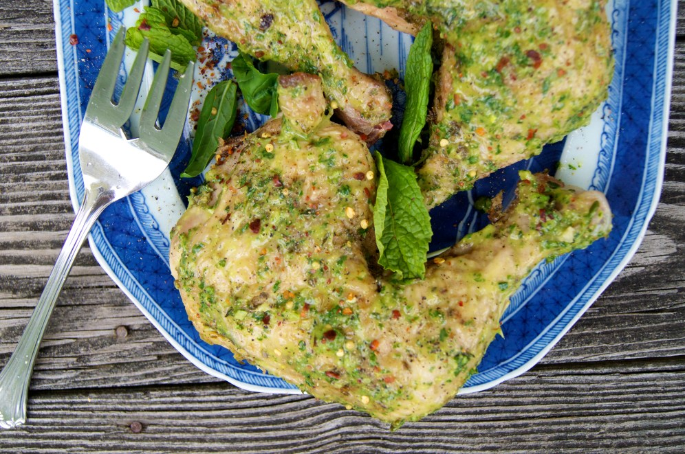 Roasted chicken with salsa verde