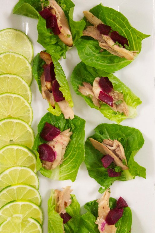 Butter Lettuce Cups with Confit Chicken and Pickled Beets