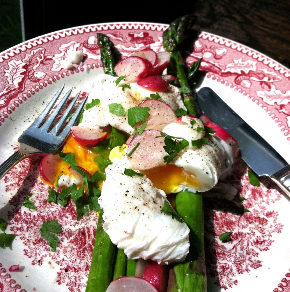 poached eggs with asparagus and radishes