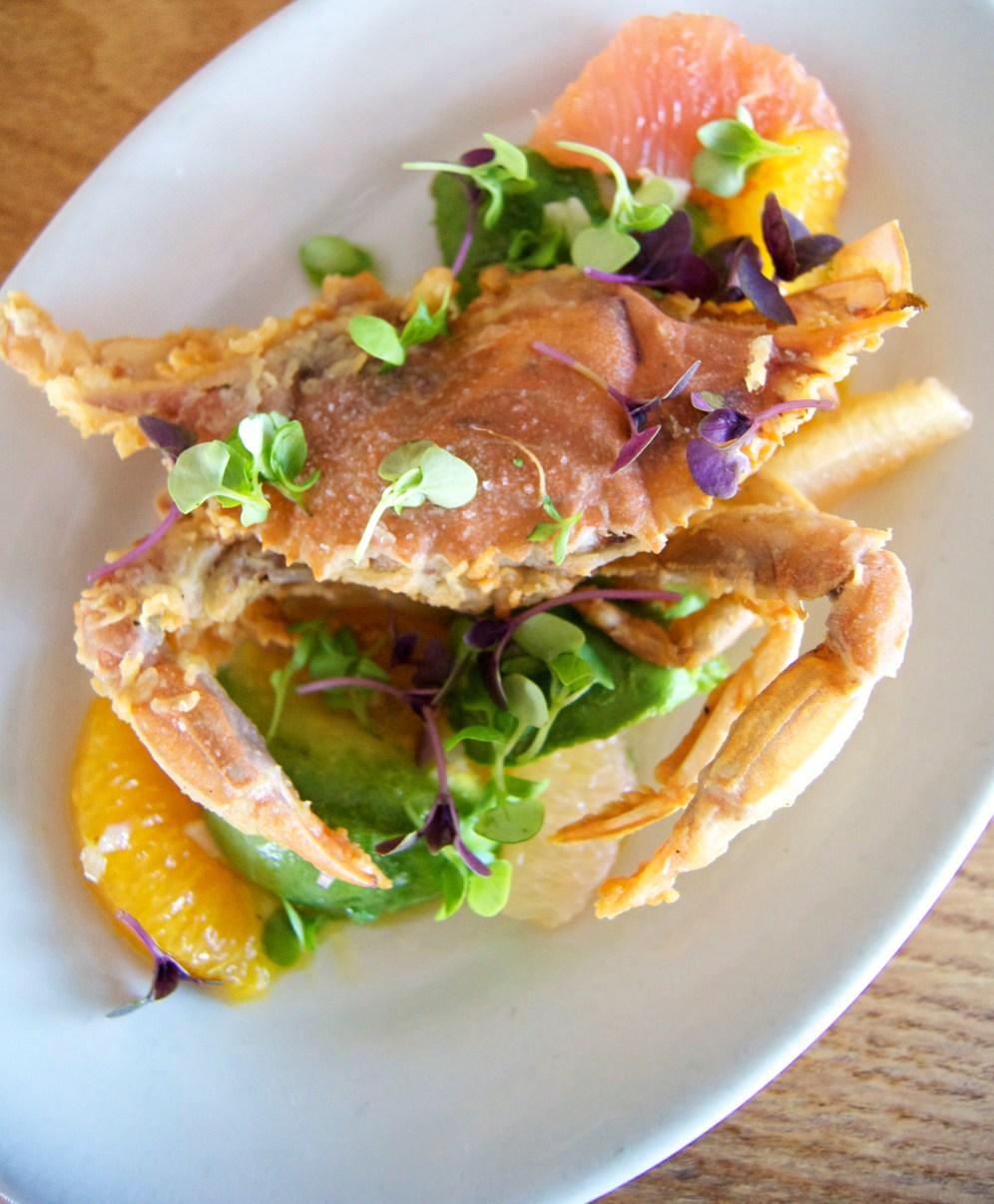 soft shell crab with citrus, avocado, and aioli