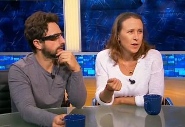 Brin and Wojcicki on Gavin Newsom's interview show in 2012.