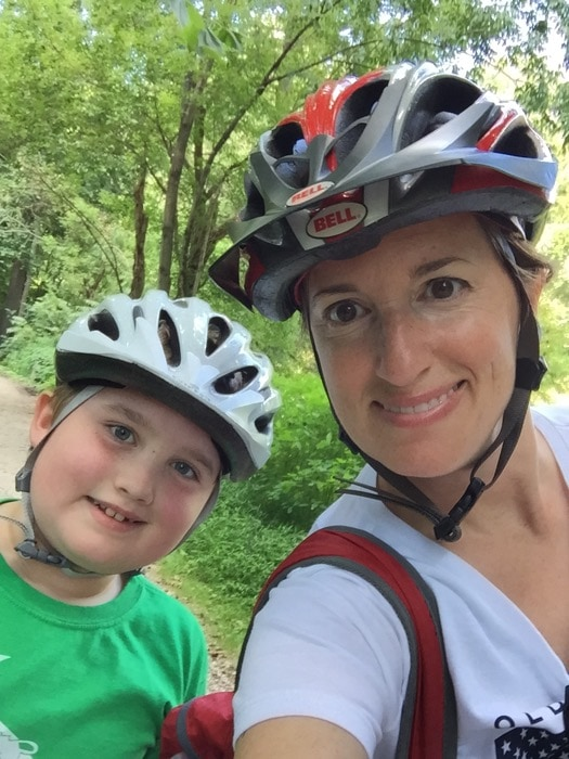 Evan and Mommy on bikes