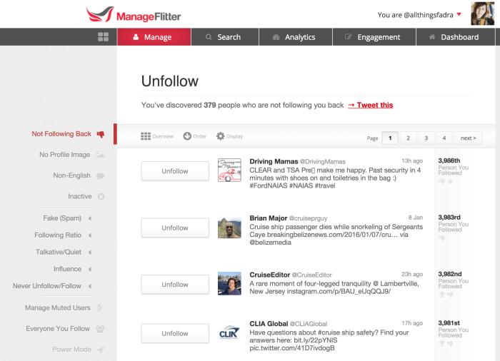 ManageFlitter screenshot