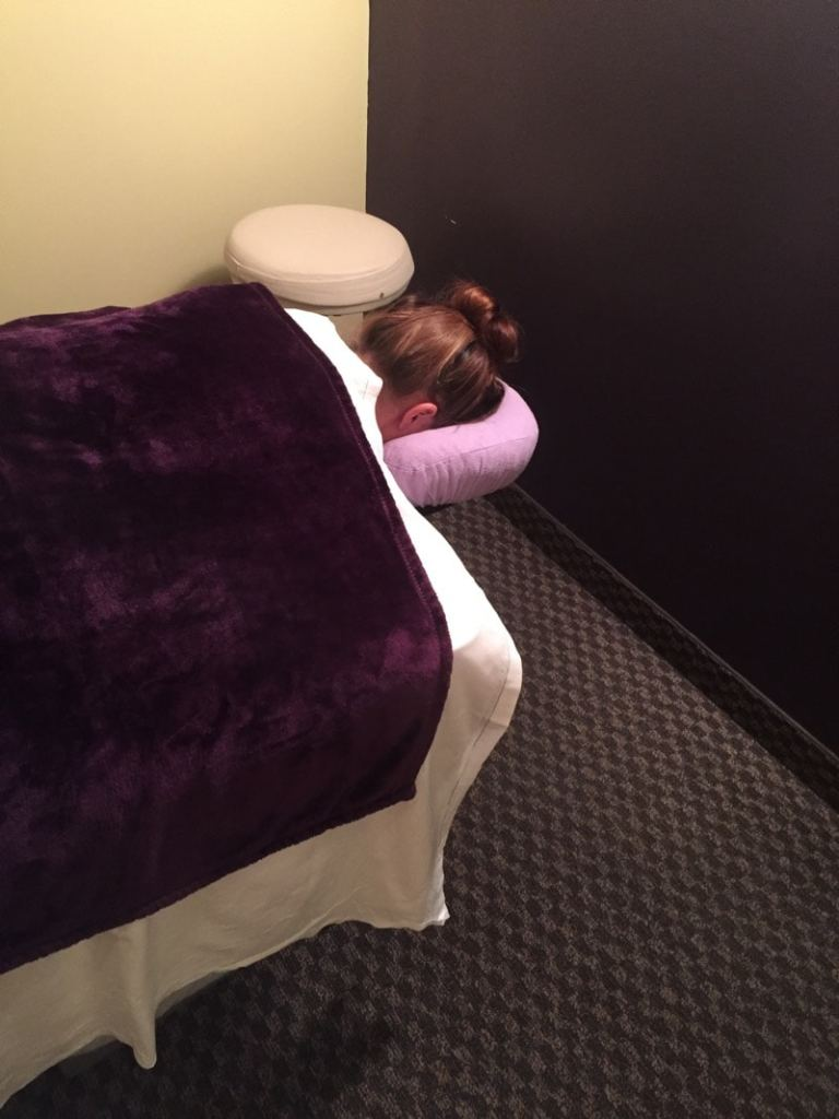 Ready for my first massage at Massage Envy in Clarksville