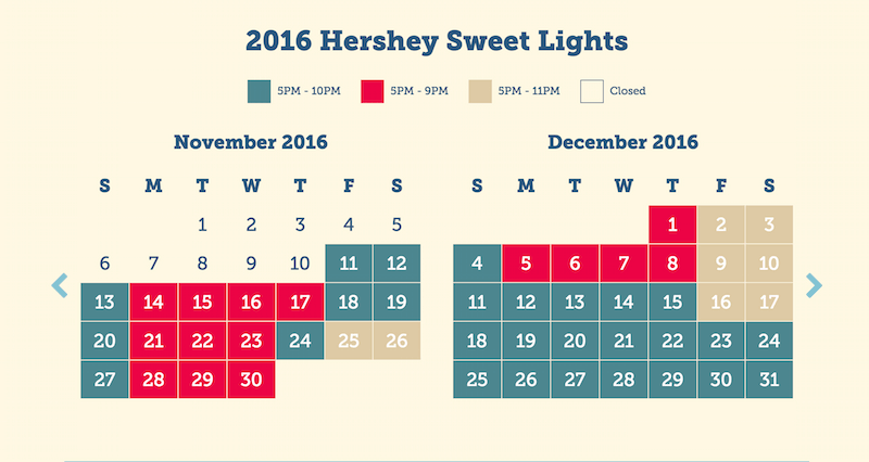 Hershey Sweet Lights schedule