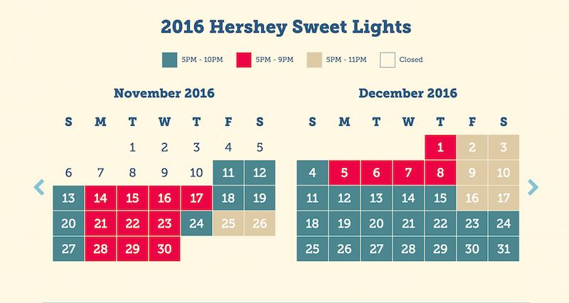 Hershey Sweet Lights schedule