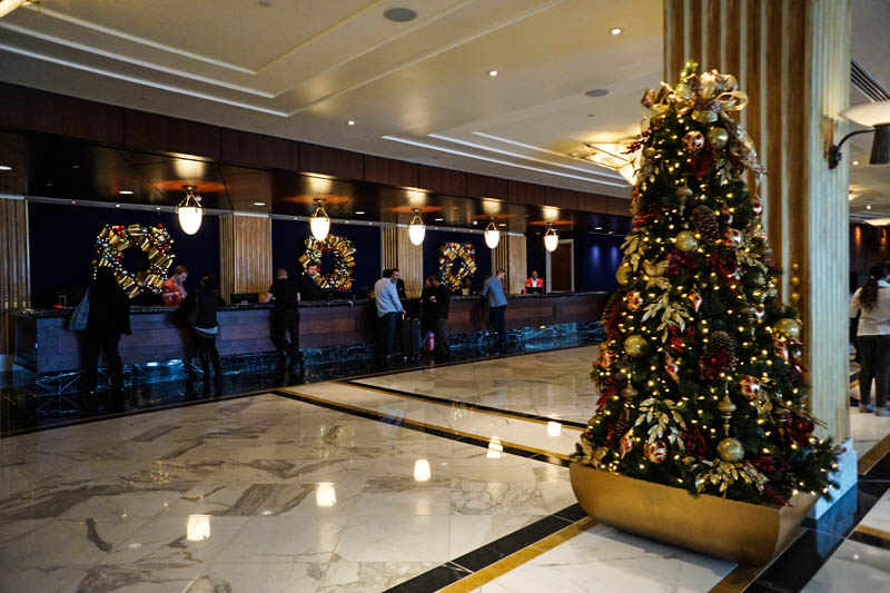 Gaylord lobby decorated for Christmas